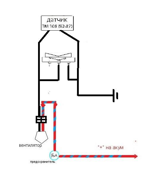 Схема вентилятора радиатора, подключение реле