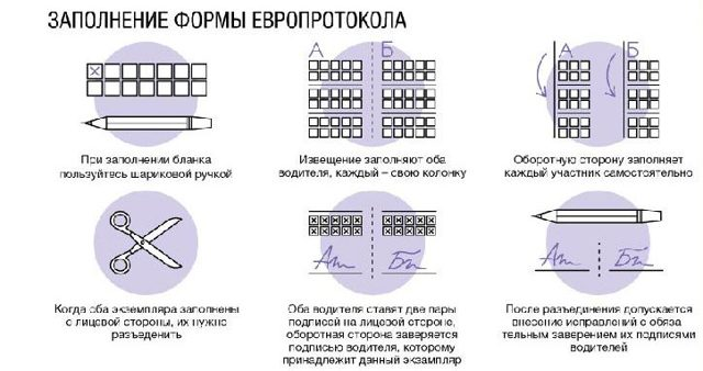 Европротокол при ДТП: как оформить, пример
